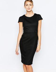 Image 1 ofOasis Button Detail Tailored Pencil Dress