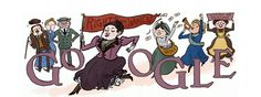 Google Doodle in Canada, celebrating the 165th birthday of Henrietta Edwards, drawn by Kate Beaton.