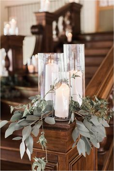 White Pillar Candles in Hurricanes and Gold Details Wedding Decor Ideas Pew Decorations, Church Wedding Decorations, Wedding Centerpieces, Church Weddings, Church Wedding Flowers, Church Ceremony Decor, Church Pews, Simple Church Wedding, Outdoor Weddings
