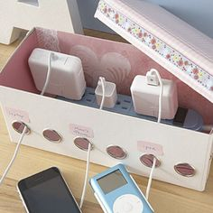 Hide power strip and power adapters in a shoebox