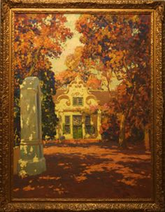 A Cape Dutch House | Artist: Edward Roworth (South African, 1880-1964) | oil on canvas in it's original gilt gesso frame | perhaps part of Vergelegen farm owned by Governor Willem Adriaan van der Stel, the property was divided into four after his recall in 1708.