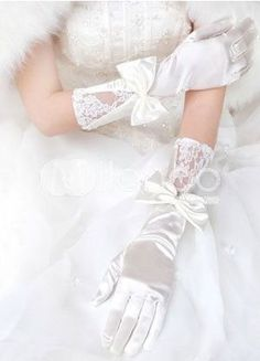 Pretty Beige Satin Lacework Bowknot Wedding Bridal Gloves - Wedding Gloves - Accessories