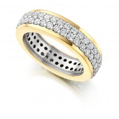 Beautiful eternity ring made of round brilliant diamonds pave set in yellow gold. This beautiful eternity ring has two rows of micro pave diamonds pave set Diamond Jewelry, Gold Jewelry, Jewellery, Round Diamonds, White Gold, Wedding Rings, Rose Gold, Dublin, Yellow