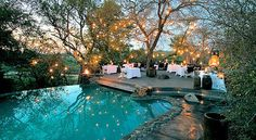 dream back yard, i love the lights! and the seating area behind the pool- also a possible wedding venue
