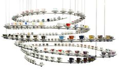 The specially-designed illy espresso cups arranged in a spiral