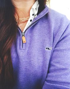 white and black polka dotted button up shirt and purple vineyard vines sweatshirt