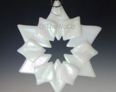 PRISM White Iridized Snowflake Fused Glass Ornament by TheWoCo
