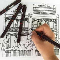 hand drawing my Melbourne Terrace Houses
