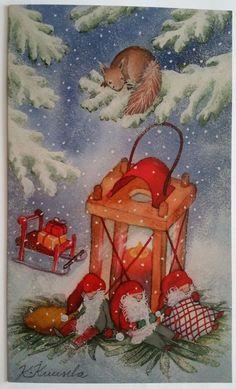 New Katri Kuusela Christmas New Year Double Card Gnome Dwarf Squirrel Lantern   eBay