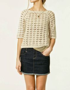 Crochet Fashion: Zara Sweater by Persia Lou Crochet Woman, Love Crochet, Beautiful Crochet, Diy Crochet, Crochet Top, Crochet Shirt, Crochet Cardigan, Crochet Fashion, Crochet Clothes
