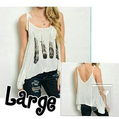 """Off White Feather Graphic Tank Size Large Gorgeous Feather Designed Tank in Off white Color.... Perfect Top to add to your Spring/Summer Collection!? Measurements are as followed... L 23"""", B 34"""", and W 40""""... Lightweight Flowing Top with side pocket.? En Creme Tops Tank Tops"""