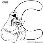 FREE Sesame street alphabet coloring pages. C is for Cookie Monster and cake!