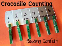Reading Confetti: 5 Simple Games for Teaching Number Recognition=crocodile counting Teaching Numbers, Numbers Preschool, Math Numbers, Preschool Learning, Kindergarten Math, Early Learning, Teaching Math, Fun Learning, Preschool Activities