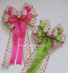 Pink Lime polka dots Bow Pink Green 1st Birthday Party Decoration Birthday Party Decorations, 1st Birthday Parties, Baby Shower Decorations, Mothers Day Wreath, Gift Bows, Ribbon Bows, Ribbon Hair, Boutique Hair Bows, Making Hair Bows