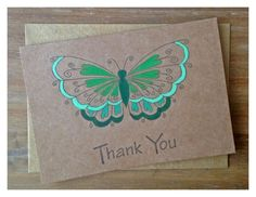 Set of 5 green hand painted thank you cards xx