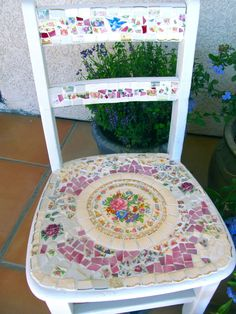 Mosaic Child's Chair with Vintage China