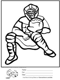coloring pages for boys baseball catcher