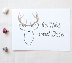 "Be Wild and Free Antlers- Original Watercolor Painting 5"" x 7"""