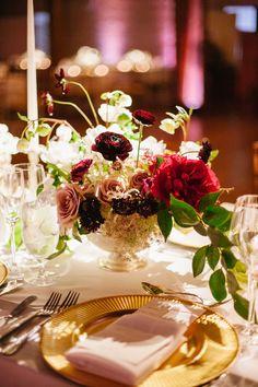 A jewel toned wedding flower arrangement featuring blush roses, deep red garnet ranunculus and a bold red peony. Wedding Flower Arrangements, Wedding Bouquets, Wedding Flowers, Perfect Wedding, Our Wedding, Wedding Bells, Wedding Stuff, Gold Chargers, Jewel Tone Wedding