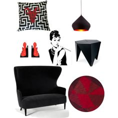 Black and White pillow with a red ram silhouette. Great for a black and white home decor.
