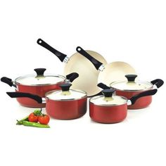 Cook N Home Nonstick 10-piece Cookware Set with Ceramic Coating, Green >>> To view further for this item, visit the image link.