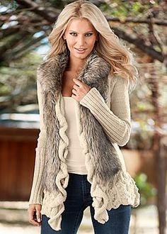 Faux fur ruffle sweater.....so cute