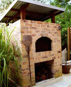 Brick wood-fired pizza oven