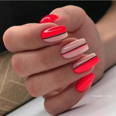 Simple and elegant line acrylic nails design art ideas love it Hot Nails, Pink Nails, Swag Nails, Nagellack Design, Nagellack Trends, Square Nail Designs, Line Nail Designs, Striped Nails, Minimalist Nails