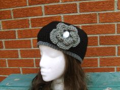 Black Beanie Cap with Removeable Grey Flower by glamourbeads, $18.00