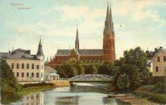 Domkyrkan sedd från norr 1915, med Haglunds järnbro framför, på sin ursprungliga plats.