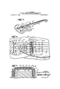 USA Patent Fender Guitar Tremolo Bridge 1950's Drawings