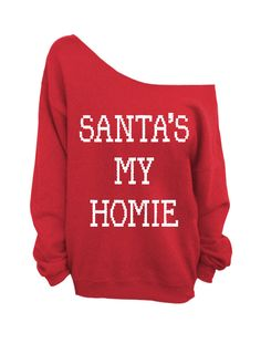 Santa's My Homie - Ugly Christmas Sweater - Red Slouchy Oversized Sweater on Etsy, $29.00