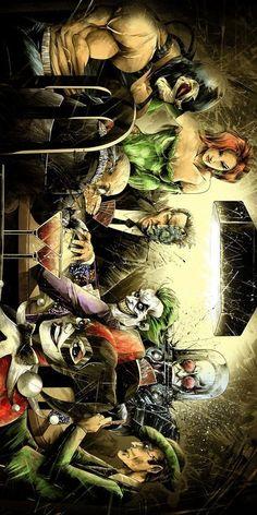 Artwork depicting Batman villains playing poker, including: Joker, the Ridler, Mr. Freeze, etc. Comic Book Villains, Gotham Villains, Comic Books Art, Book Art, Arte Dc Comics, Marvel Comics, Catwoman, Batgirl, Batman Artwork