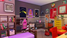"""Robotics Dorm Room The third """"as seen in the trailer"""" dorm room is on the techy side with half of the room dedicated to a sim that must be seriously into robotics! Remember that rooms that are saved. Nursery Room, Boy Room, Sims 4 Challenges, Sims 4 Bedroom, Sims 4 House Design, Sims House Plans, Casas The Sims 4, Sims Ideas, Sims 4 Build"""