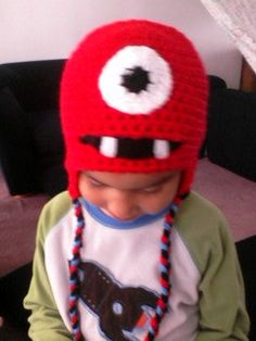 Red Monster Hat by MarysMoxee on Etsy