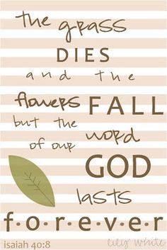 Isaiah 40:8--stand on God's words and his promises. God does not change!
