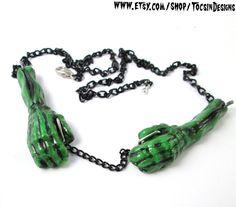 Frankenstein  Hands Necklace   frankenstein by TocsinDesigns, $17.95