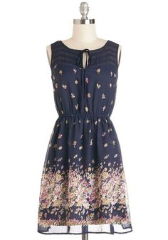 Library Lingering Dress - Multi, Floral, Tie Neck, Casual, A-line, Sleeveless, Good, Summer, Woven, Mid-length, Chiffon, Blue