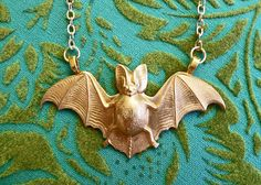 Gold Plated Pet Bat Necklace for Gothic and Curious by LaPlumeNoir, $32.00