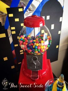 Super Hero Birthday Party gumball machine!  See more party planning ideas at CatchMyParty.com!