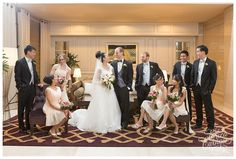 casual indoor wedding party portrait at Langham Boston