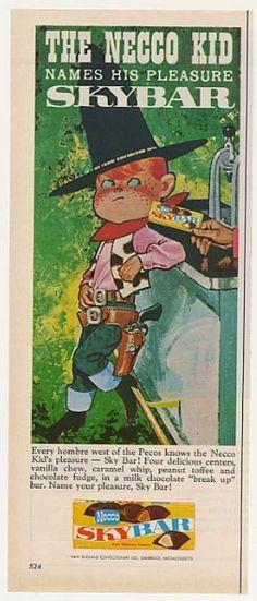 Necco Kid Cowboy Skybar Sky Bar Candy (1961)