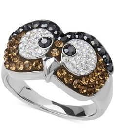 Kaleidoscope Brown Swarovski Crystal Owl Ring in Sterling Silver - Rings - Jewelry & Watches - Macy's