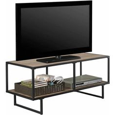 """Emmett Sonoma TV Stand/Coffee Table with Metal Frame for TVs up to 42"""", Oak/Gunmetal Gray - Walmart.com"""