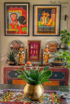 Pinkz Passion : Whimsically Ethnic (Home Tour of Poornima Murthy) Part Ethnic Home Decor, Indian Home Decor, Indian Inspired Decor, Baby Tea, Indian Home Interior, Madhubani Painting, Art N Craft, Home Decor Items, Rustic Style