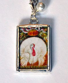 1.5 Inch X 1 Inch Soldered Charm Thanksgiving Turkey and 30 Inch Ball Chain
