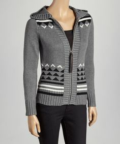 Take a look at this kersh Heather Gray Fair Isle Ribbed-Trim Hooded Cardigan on zulily today!