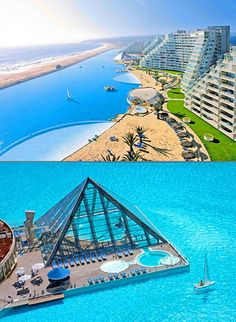 Worlds largest swimming pool at the San Alfonso del Mar resort in Chile. It spans 1 kilometre (0.62 mi) long, covering an area of 19 acres (7.7 ha), with a maximum depth of 115 feet (35 m) and holding 66,000,000 US gallons (250,000,000 l: 55,000,000 imp gal) of seawater.