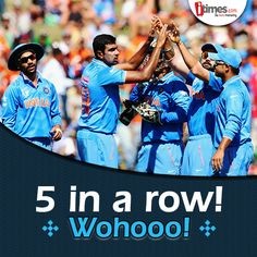 5th Victory in a row! ‪#‎TeamIndia‬ qualifies for the quarter-finals & tops group B. Kudos to the team! For more ‪#‎WorldCup2015‬ updates