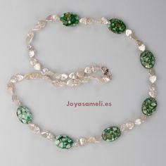 Collar de mujer de perla cultivada y madreperla, broche de plata, largo 78cm